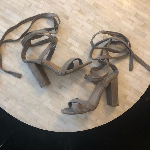 Steve Madden Shoes - Steve Madden Christey Taupe Suede Lace-Up Heels